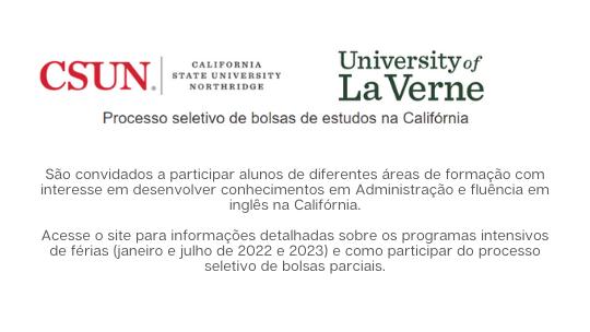 Bolsas parciais de estudos na Califórnia