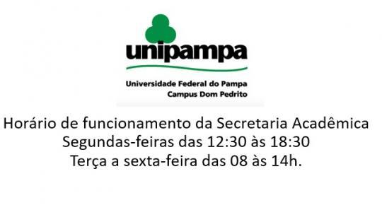 Horário de funcionamento da Secretaria Acadêmica Segundas-feiras das 12:30 às 18:30 Terça a sexta-feira das 08 às 14h.
