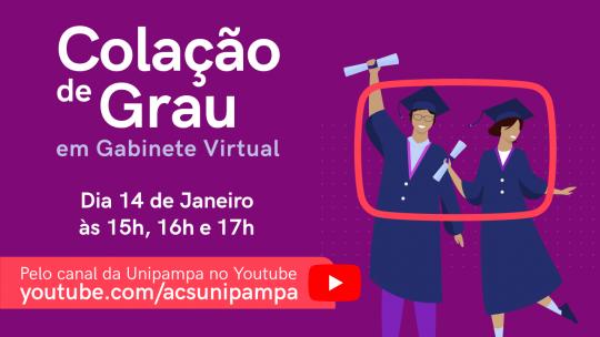 Concludentes de 15 cursos da Unipampa colam grau na quinta-feira, 14, em cerimônias virtuais