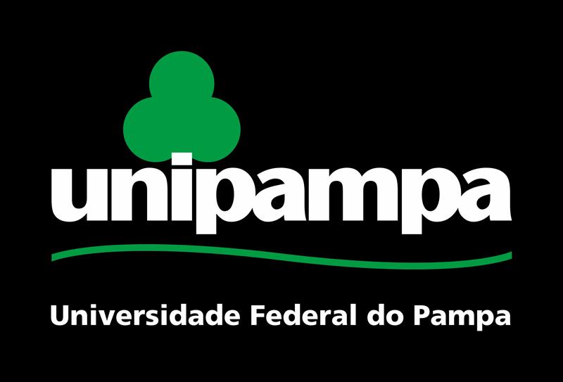 Assinatura Visual da Unipampa vertical com fundo preto
