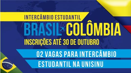 Imagem com fundo azul e detalhes em amarelo, remetendo à bandeira da Colômbia, com imagens das bandeiras de Brasil e Colômbia