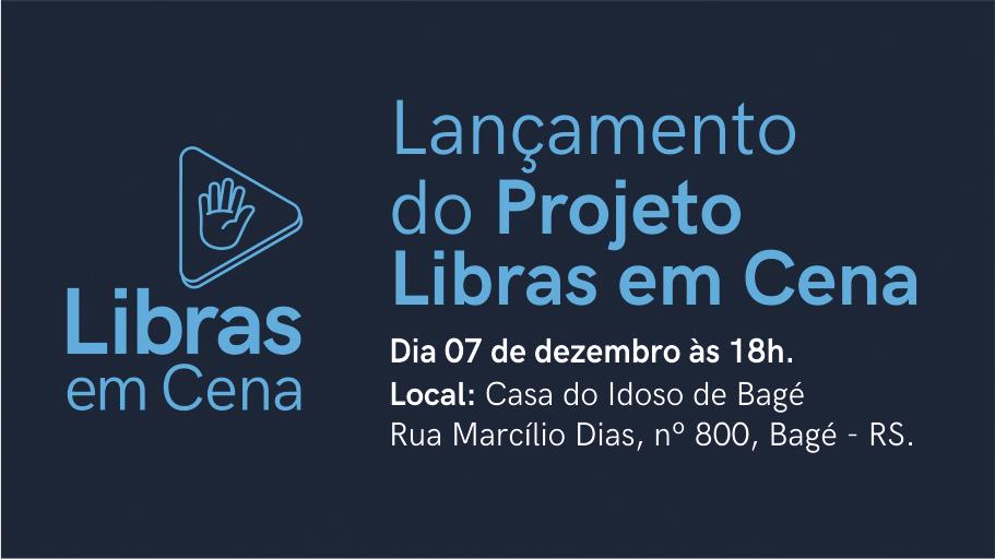"""Banner publicitário em tons de azul anunciando o projeto """"Livras em Cena""""."""