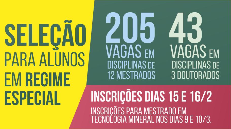 Imagem colorida anunciando a seleção para alunos em regime especial nos cursos de mestrado e doutorado da Unipampa.