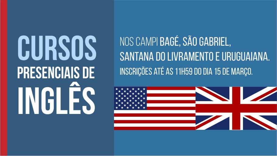 Banner publicitário anunciando cursos de inglês presenciais em quatro campi da Unipampa.