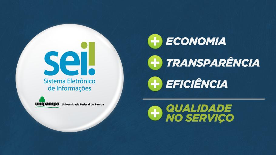 Sobre um fundo azul, o logo do SEI e da Unipampa: + economia + transparência + eficiência = + qualidade no serviço