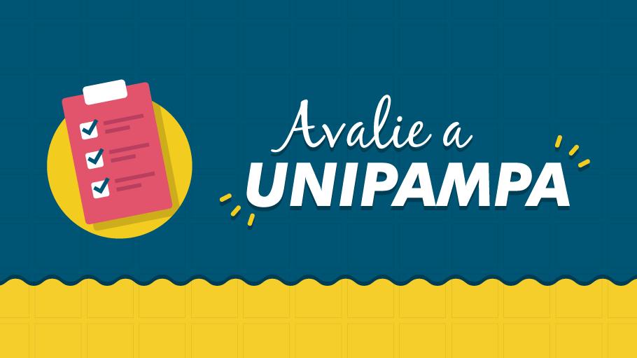 """""""Avalie a Unipampa. Nesse banner publicitário apresenta-se à esquerda a imagem de uma prancheta vermelha sobre um círculo amarelo, com itens marcados na prancheta. À direita, sobre um fundo azul quadriculado com um rodapé amarelo, apresenta-se o texto: avalie a Unipampa""""."""
