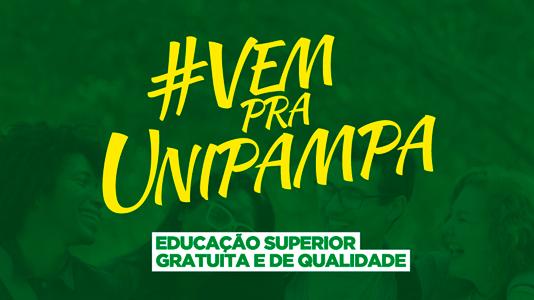 """Fundo verde. Texto """"#vempraunipampa"""" em amarelo e destacado."""