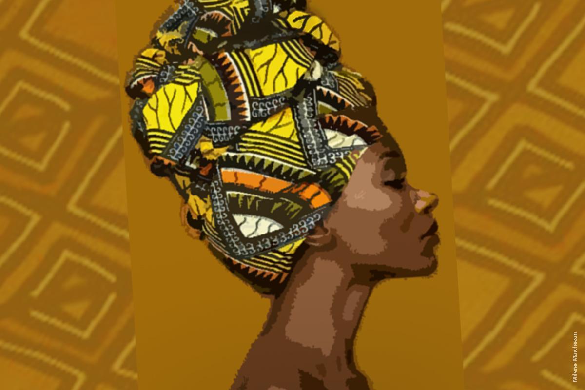 Fundo com textura em tons de marrom. Arte de mulher negra no centro, de perfil e usando turbante colorido.