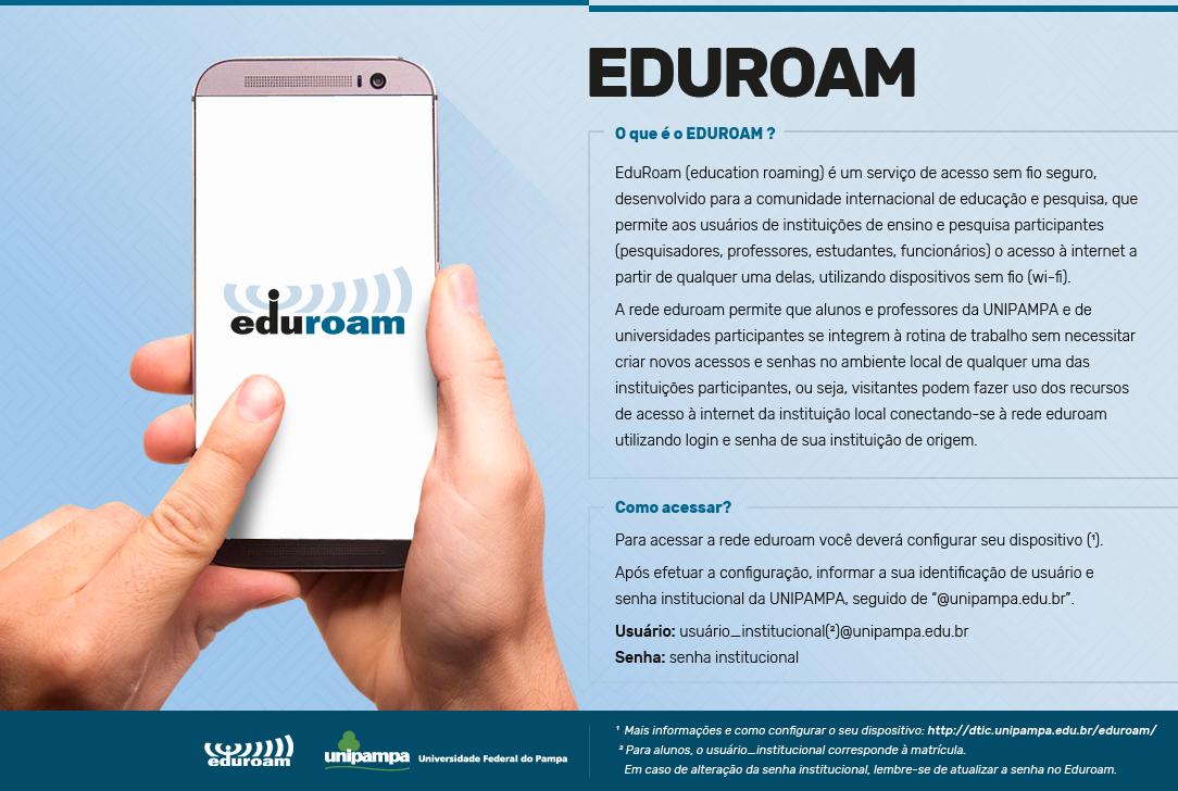 Imagem com fundo azul onde se vê, à esquerda, duas mãos manuseando um smartphone. À direita texto em preto com as instruções de configuração da rede Eduroam.