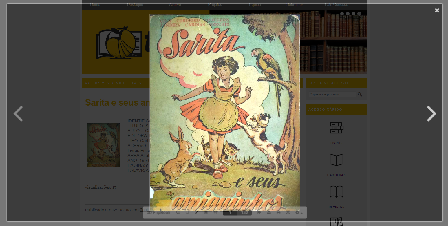 Capa de cartilha titulada Sarita, com o desenho de uma menina em paisagem campestre
