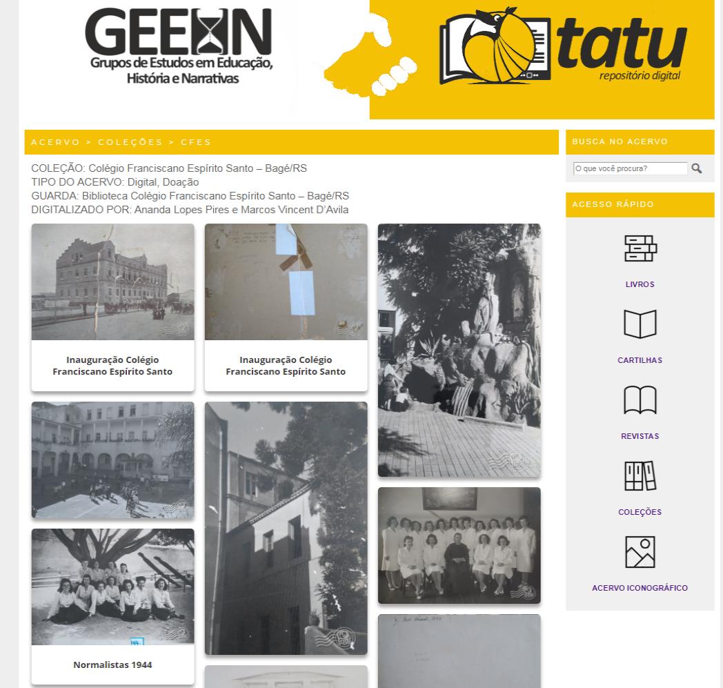 Coleção de fotografias em preto e branco sobre a escola Espírito Santo, em Bagé