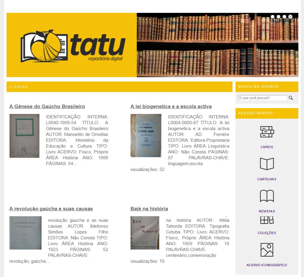 Página do Tatu com cabeçalho em amarelo e quatro obras disponibilizadas para visualização, exemplificando a forma de navegação