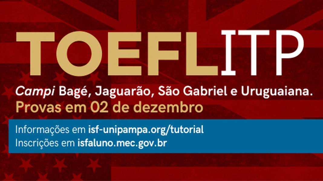 Banner publicitário anunciando testes de proficiência em inglês TOEFL ITP