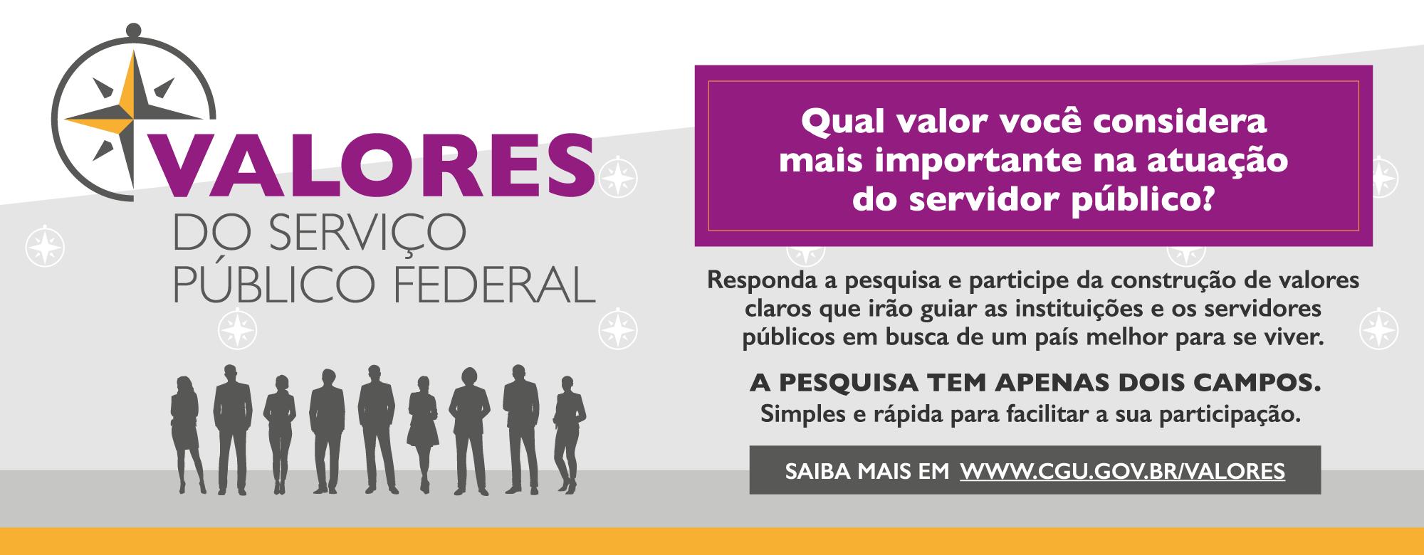 Participe da pesquisa Valores do Serviço Público Federal até dia 23 de outubro