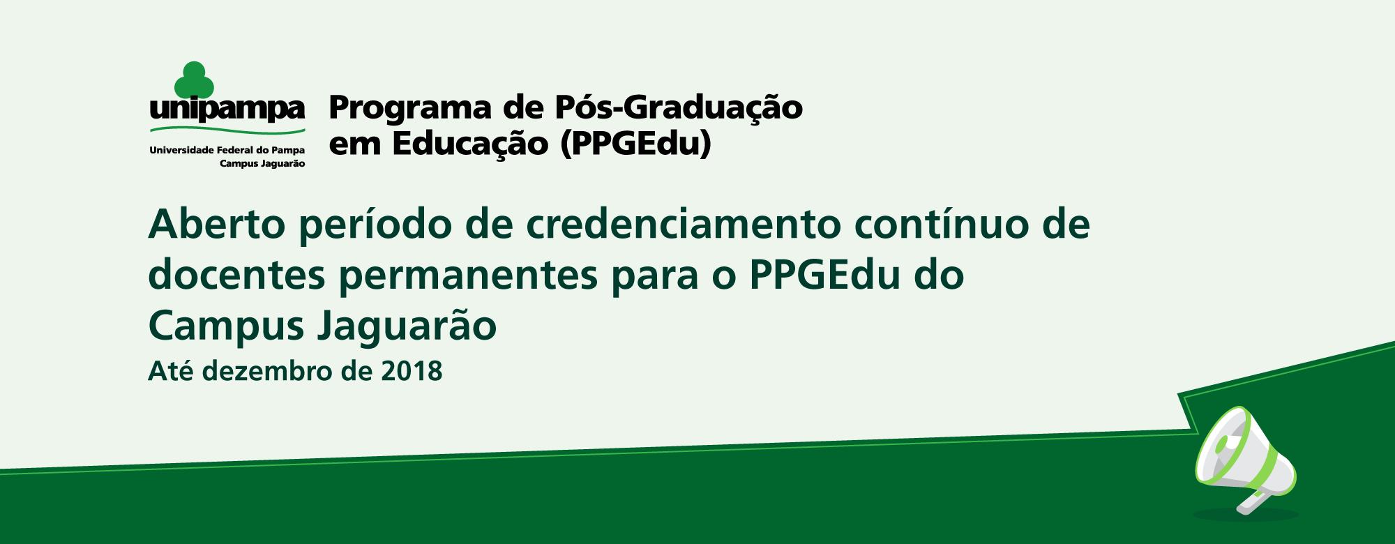 Banner publicitário em tons de verde anunciando a abertura do credenciamento para docentes permanentes do PPGEdu.