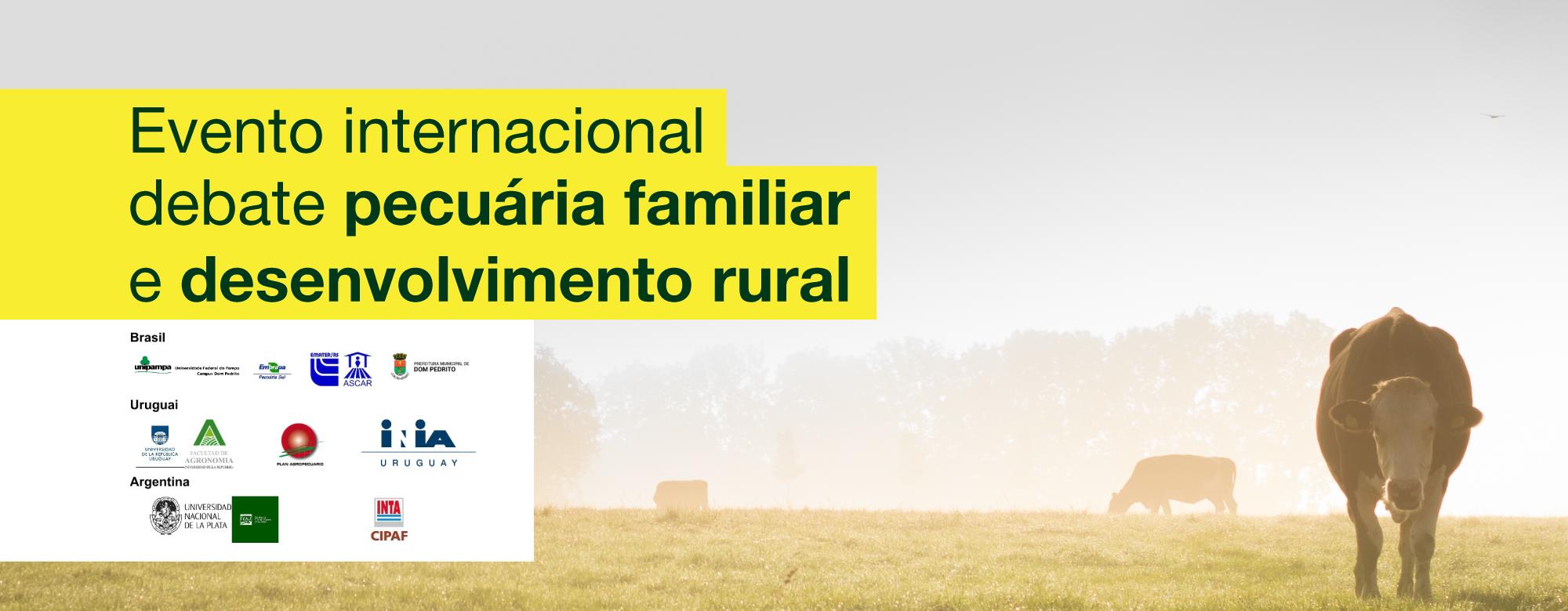 """Foto de gado no posto com o texto """"Evento internacional debate pecuária familiar e desenvolvimento rural"""" no topo"""