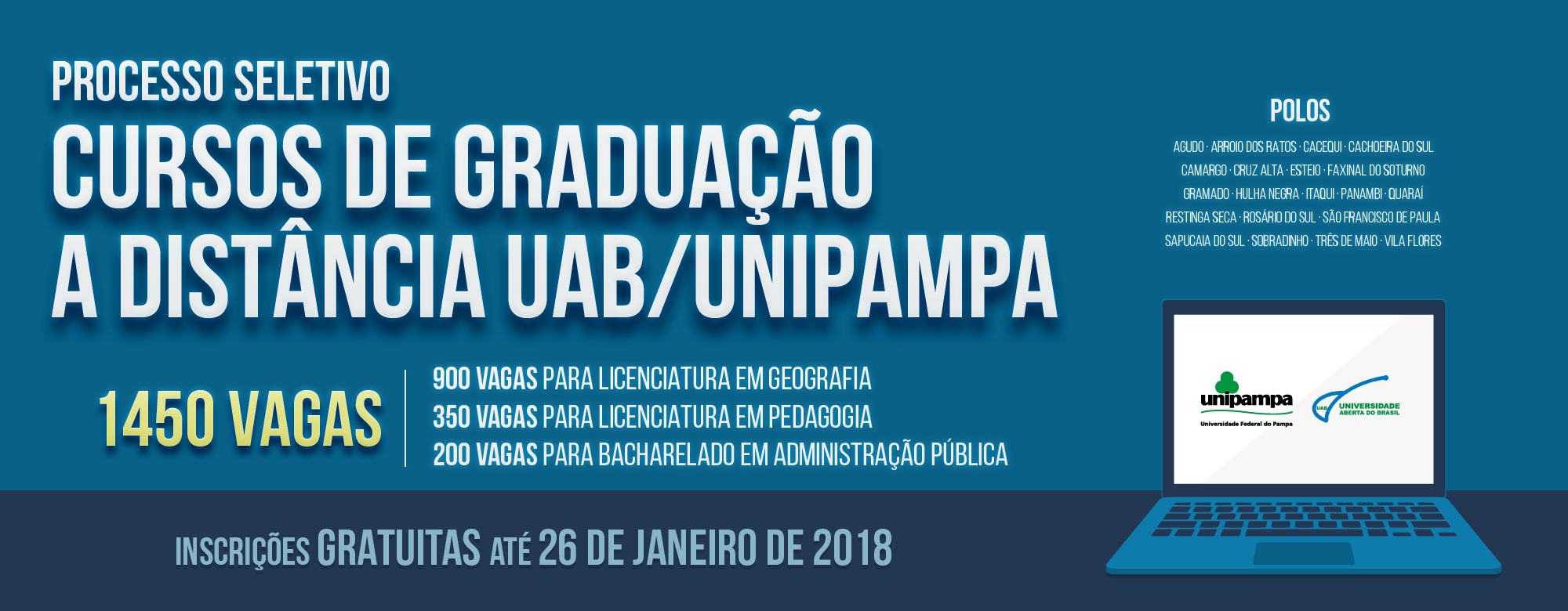 Banner publicitário anunciando o processo seletivo para cursos de graduação EaD UAB/Unipampa