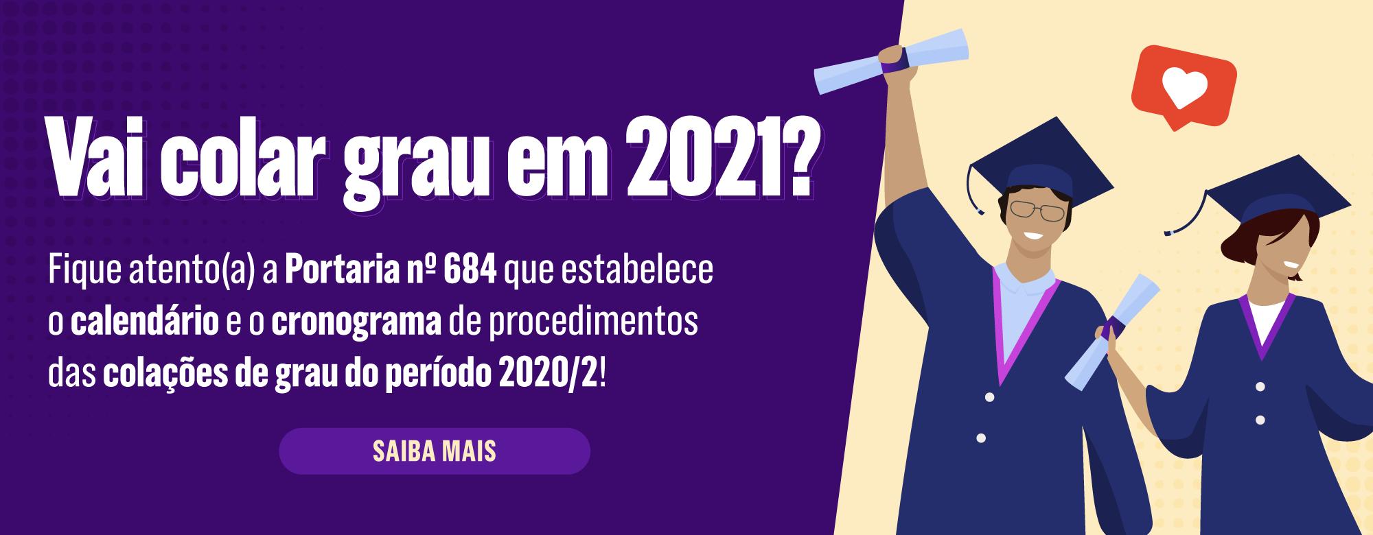 Calendário de Colações de Grau 2020/2 é divulgado