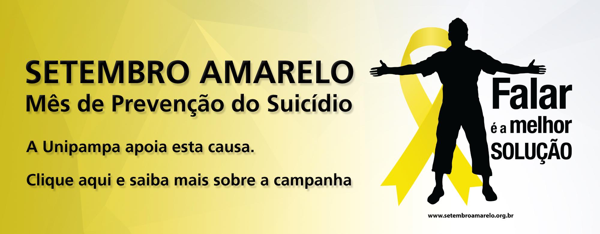 Setembro Amarelo. Mês de Prevenção do Suicídio. A Unipmapa apoia esta causa. Clique aqui e saiba mais sobre a campanha.