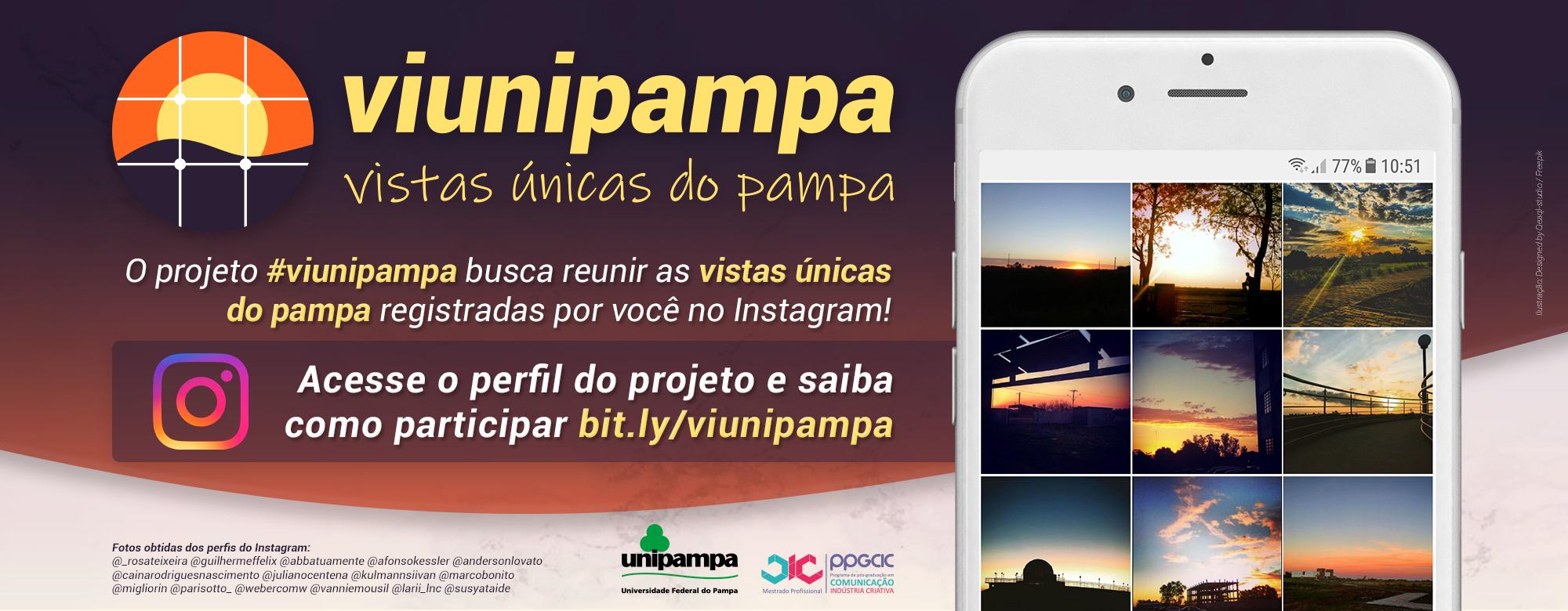 Celular e identidade visual do projeto em primeiro plano com informações sobre o projeto e link para acessar: bit.ly/viunipampa