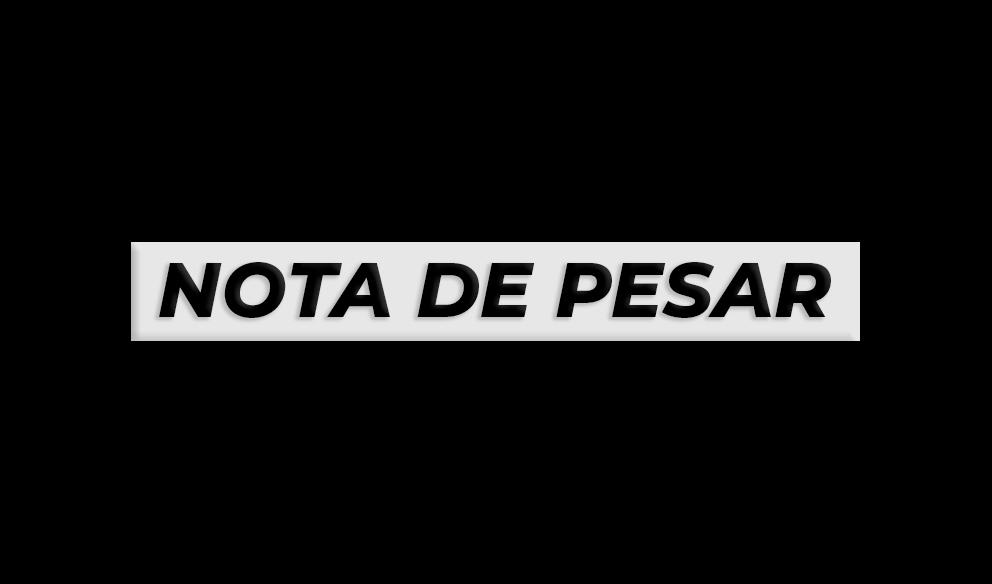 """fundo preto, com faixa branca e letras em preto """"nota de pesar"""""""