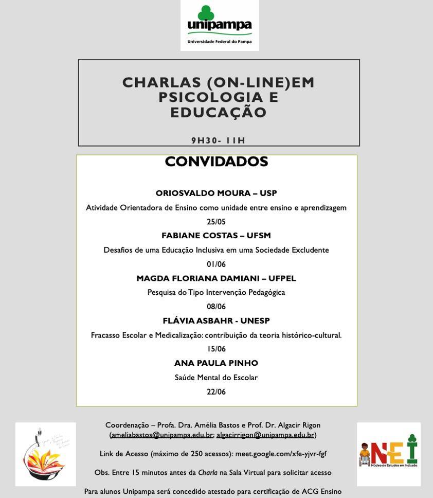 Imagem com a lista da programação do evento Charlas Online.