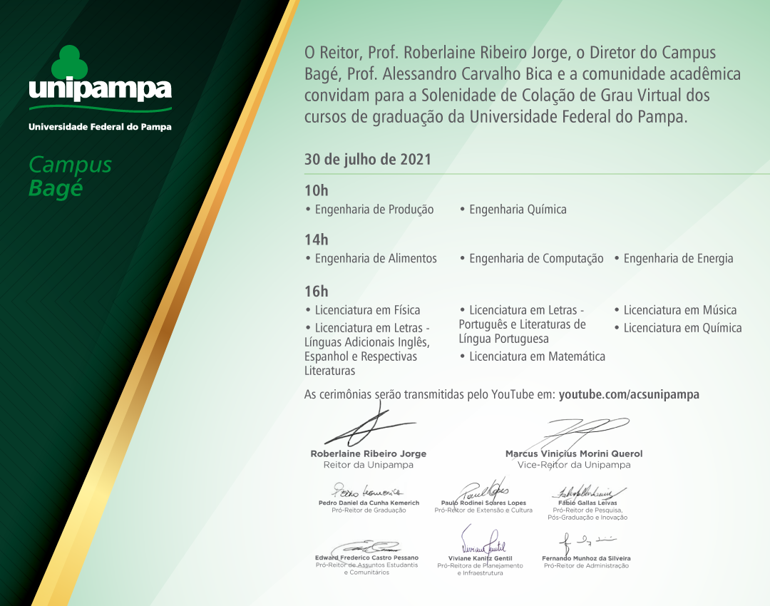 Convite da colação de grau do Campus Bagé - Divulgação