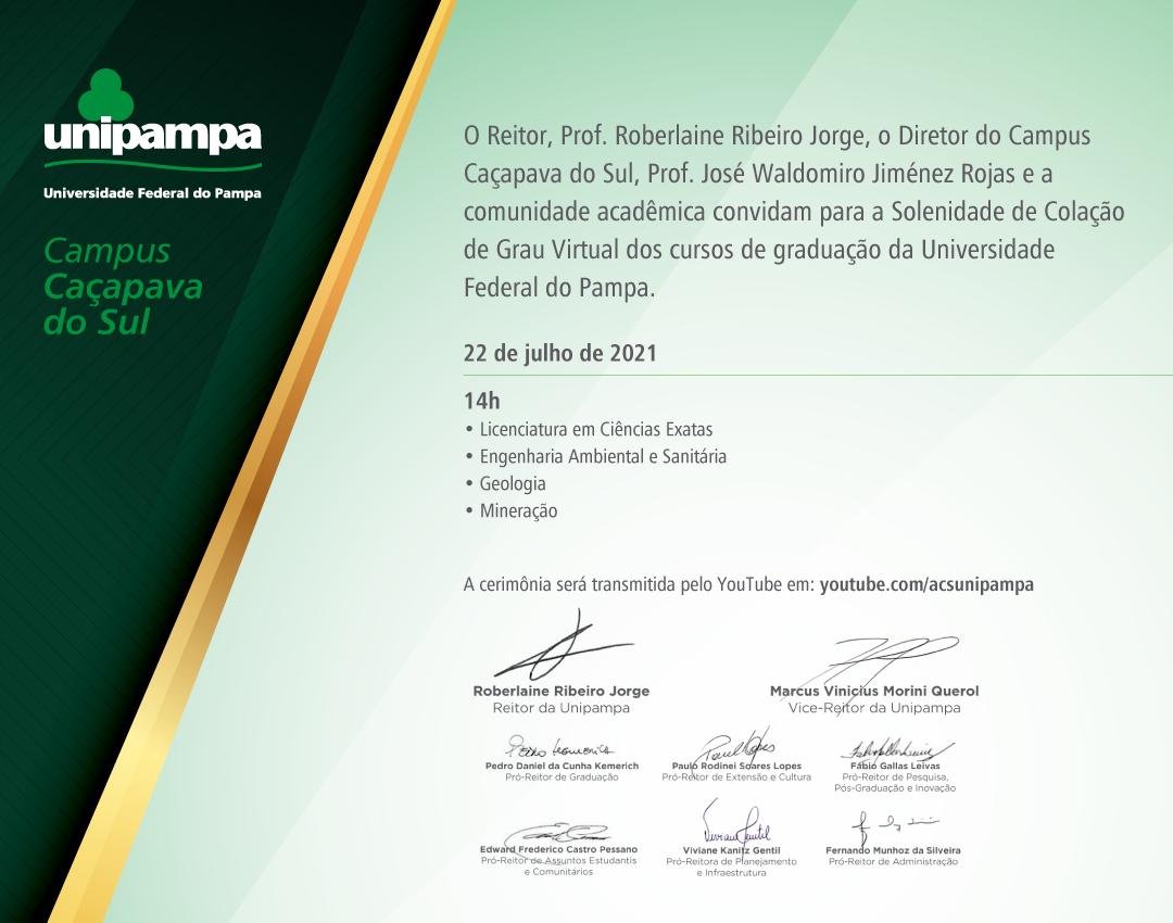 Convite da colação de grau do Campus Caçapava do Sul - Divulgação