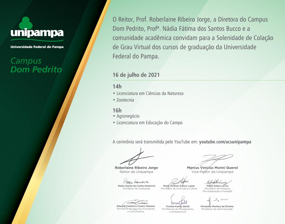 Convite da colação de grau do Campus Dom Pedrito - Divulgação