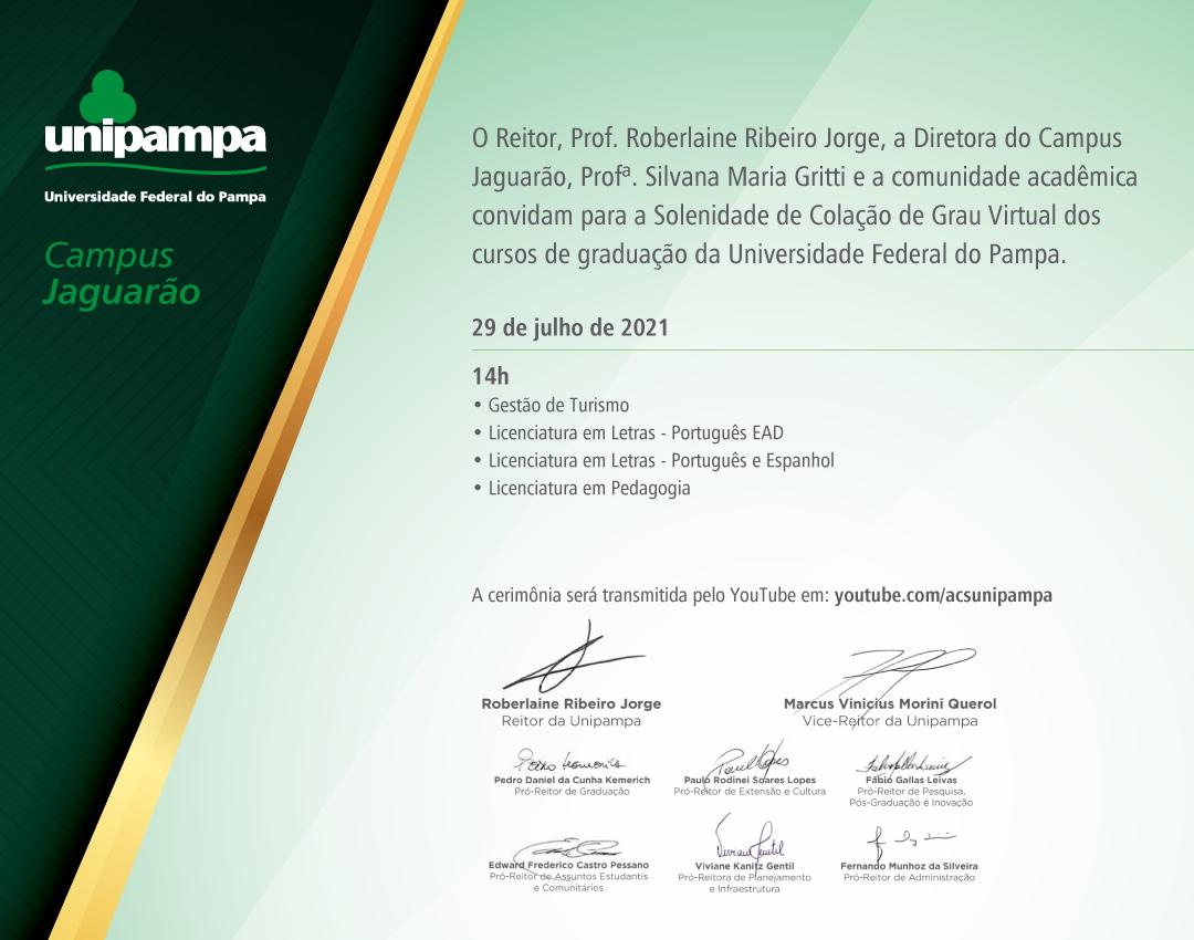 Convite da colação de grau do Campus Jaguarão - Divulgação
