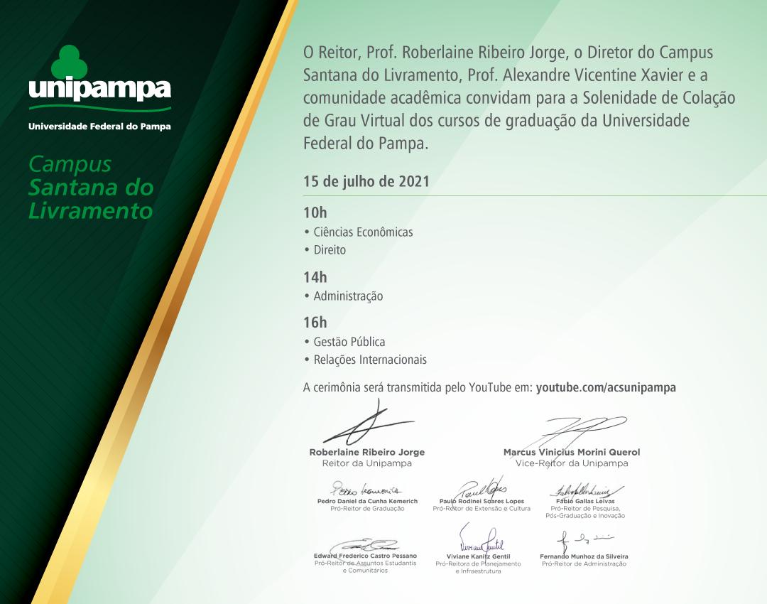 Convite da colação de grau do Campus Santana do Livramento - Divulgação