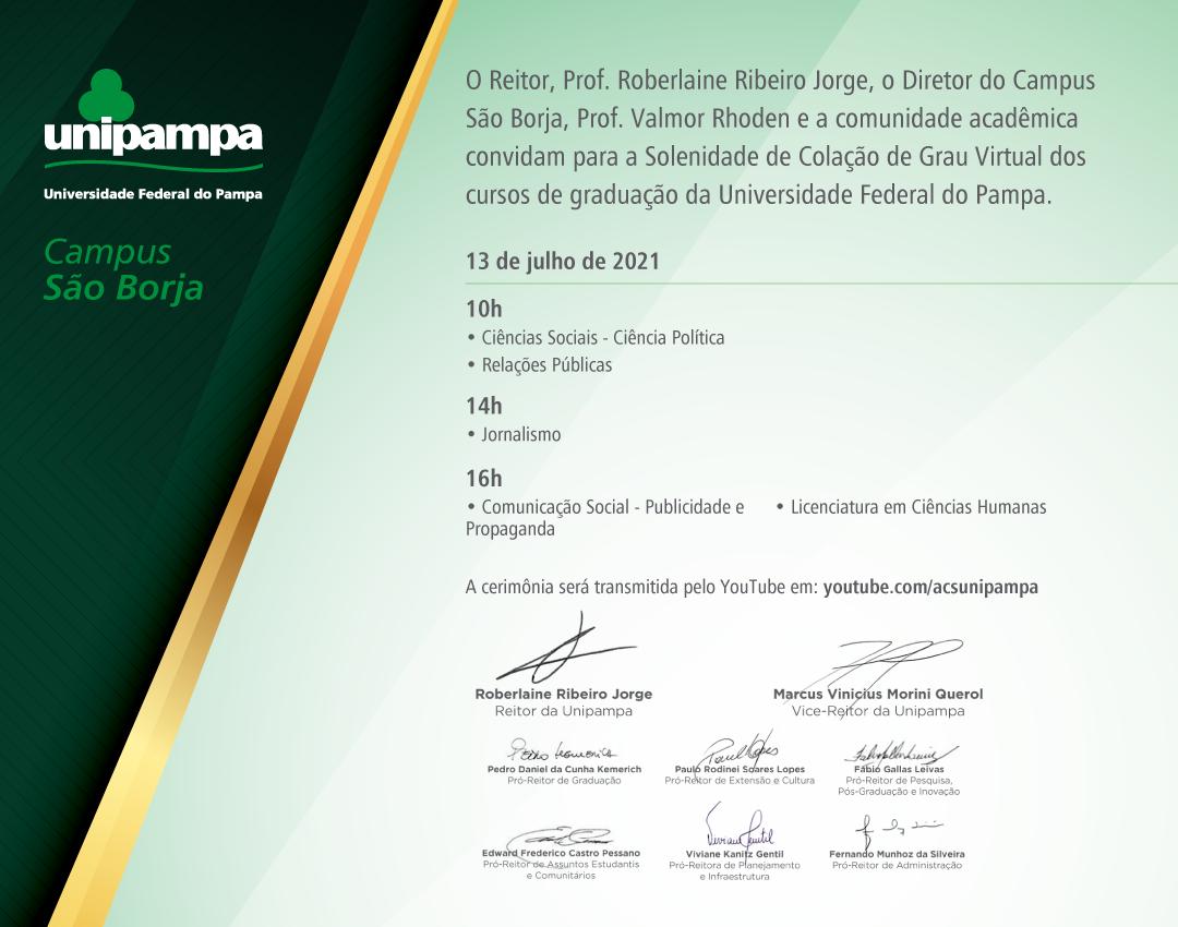 Solenidade de colação de grau do Campus São Borja ocorrerá no dia 13 de julho - Divulgação