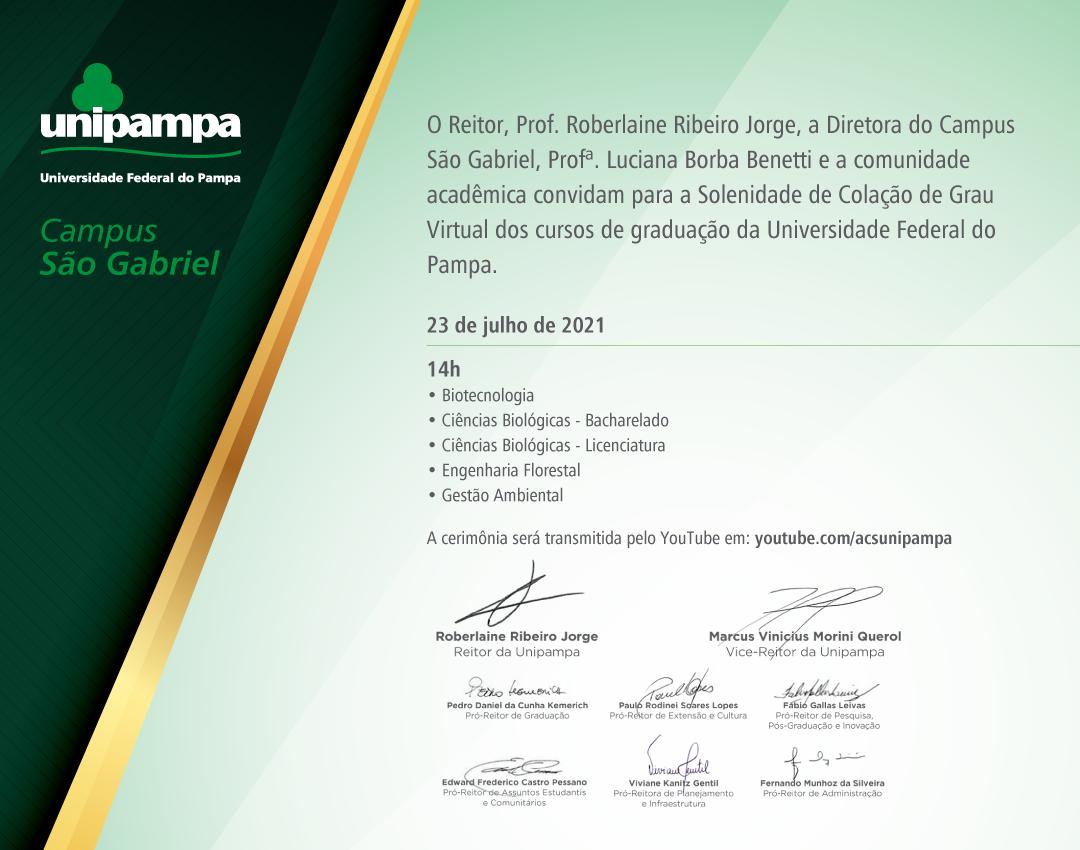 Convite da colação de grau do Campus São Gabriel - Divulgação