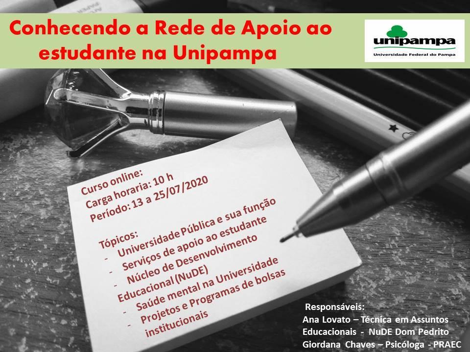 """Encerram hoje as inscrições para o curso """"Conhecendo a Rede de Apoio ao Estudante na Unipampa"""""""