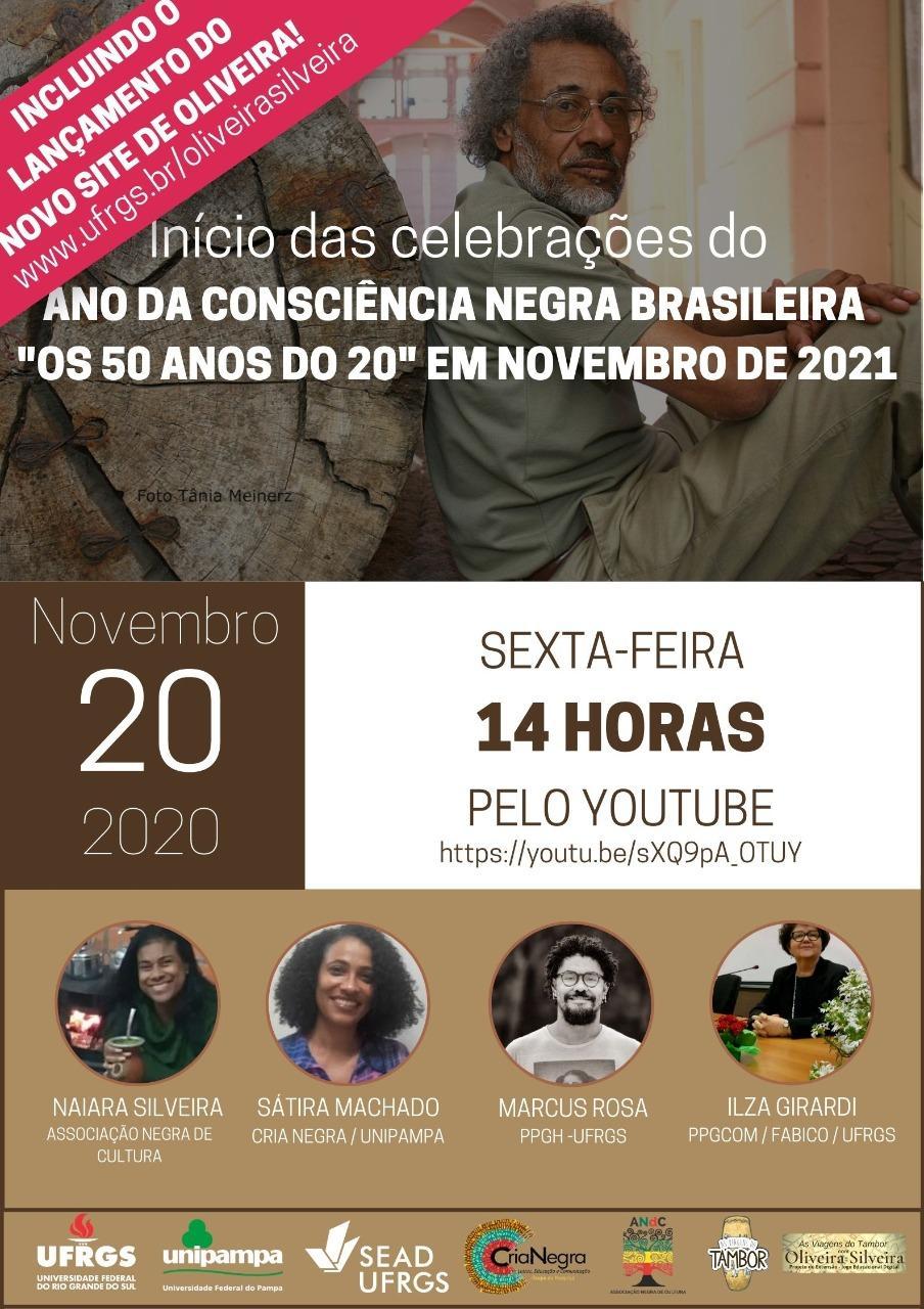 Foto de Oliveira ao fundo, ocupando metade da imagem. A outra metade na cor marrom. Informações sobre o evento ao longo do card