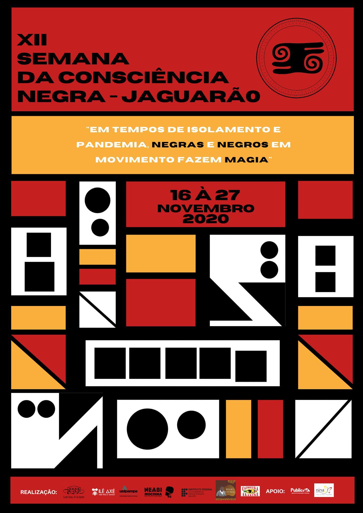 Card nas cores preto, vermelho, branco e amarelo com desenhos geométricos. Nome do evento no alto e outras informações abaixo