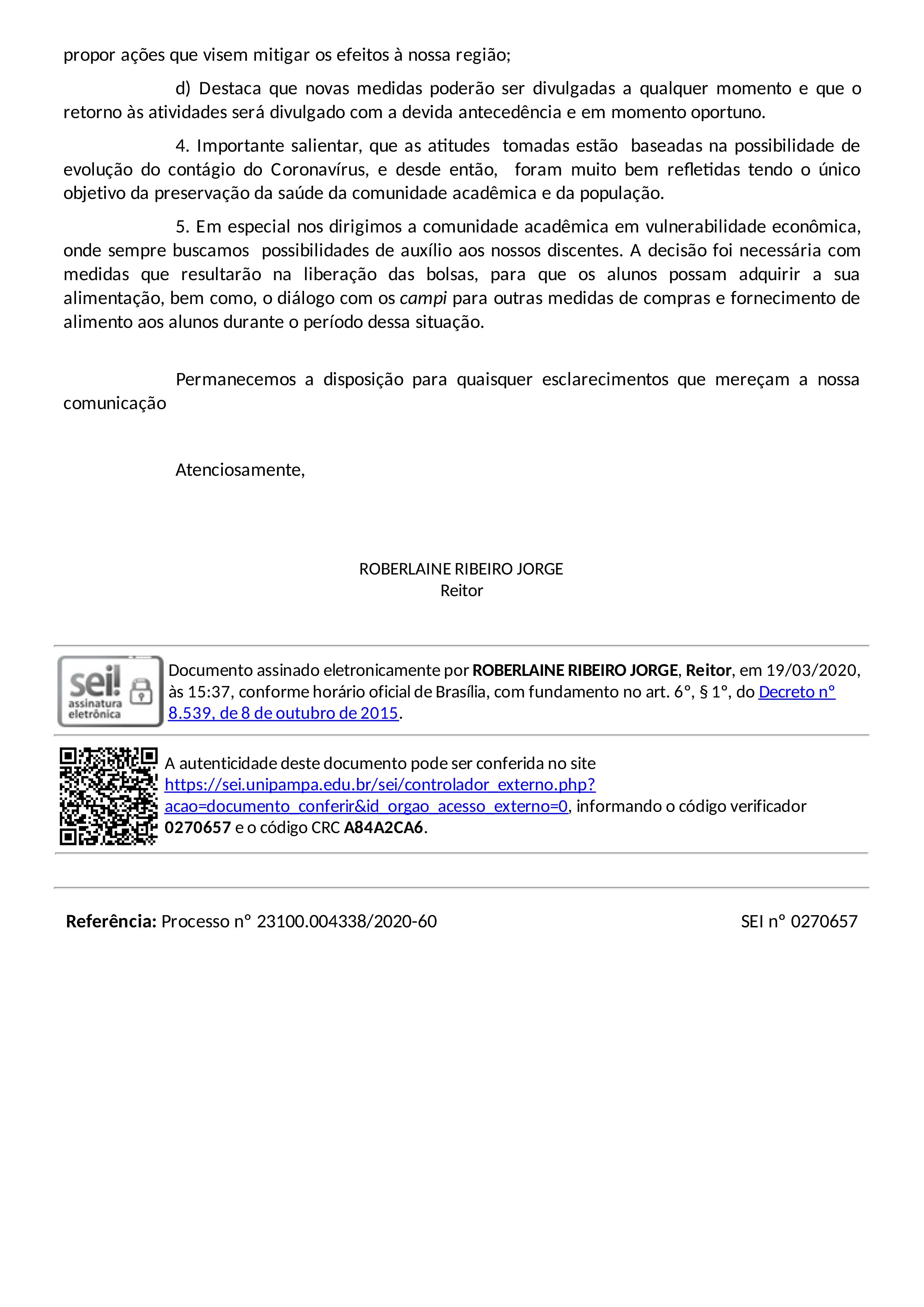 Imagem do ofício circular número 4 de 2020 reproduzido acima
