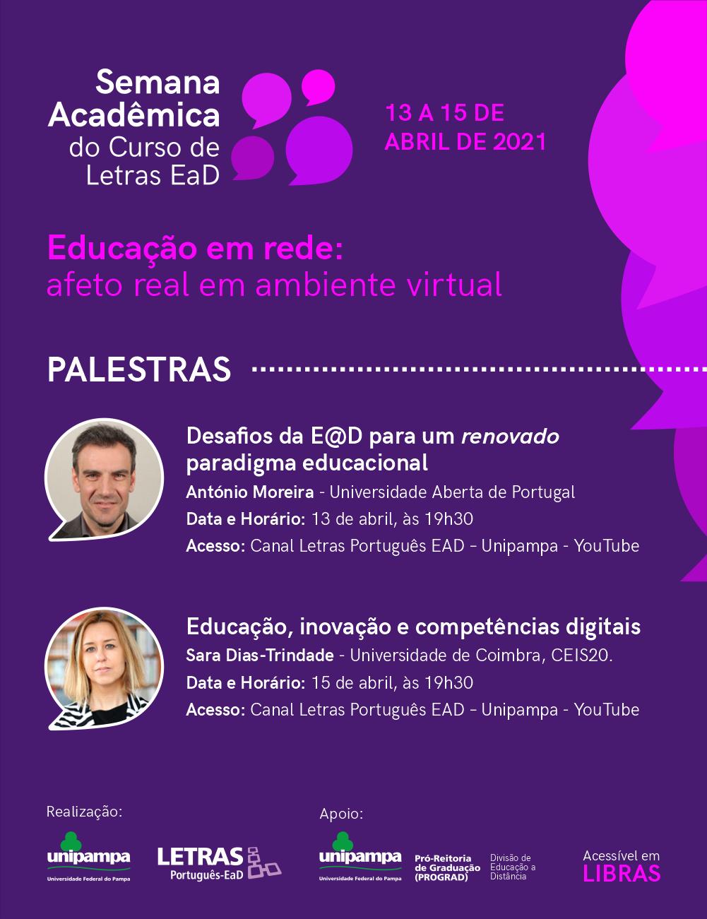 Confira as palestras da I Semana Acadêmica de Letras EaD - Divulgação