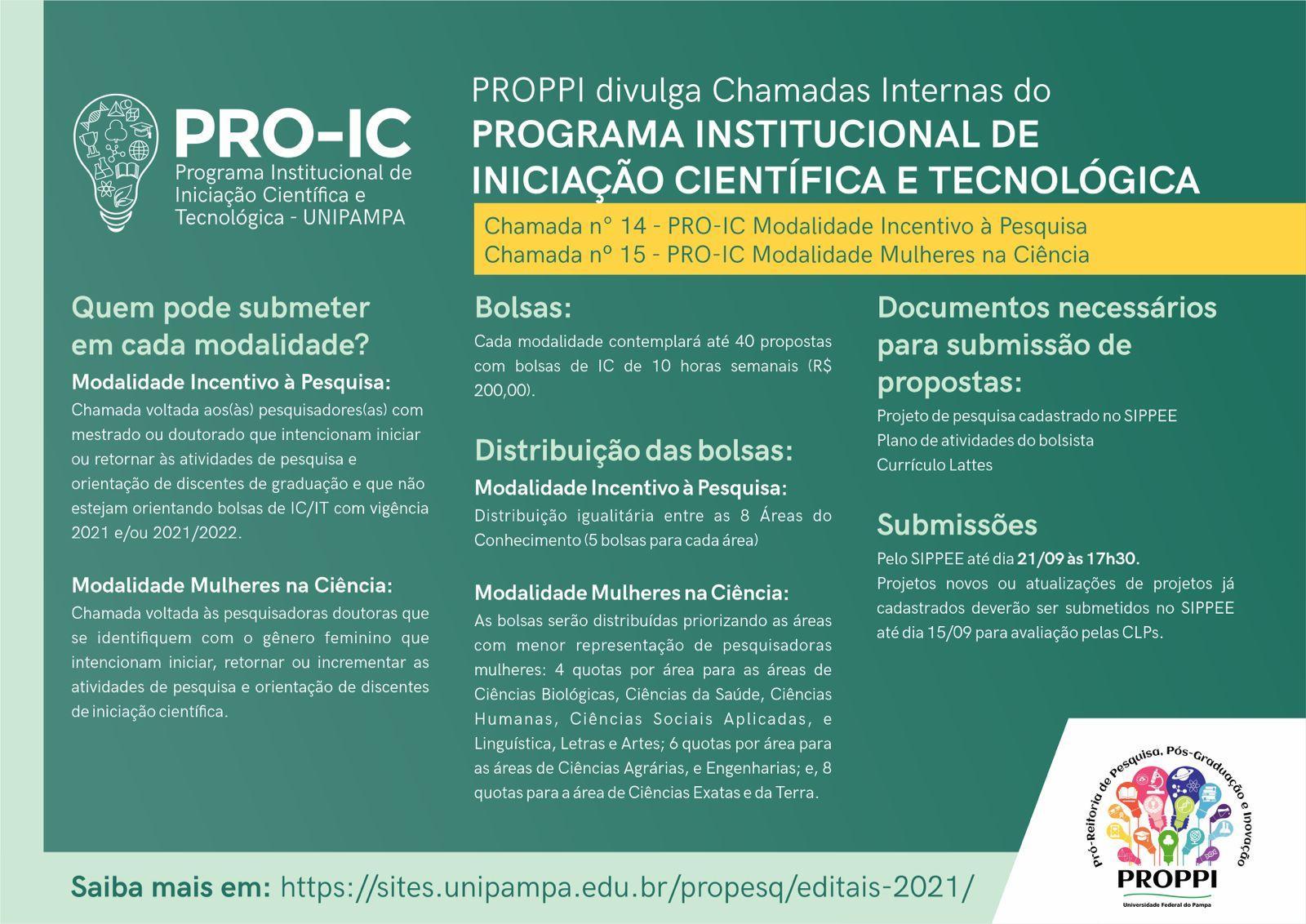flyer com detalhes das Chamadas Internas Incentivo à Pesquisa e Mulheres na Ciência