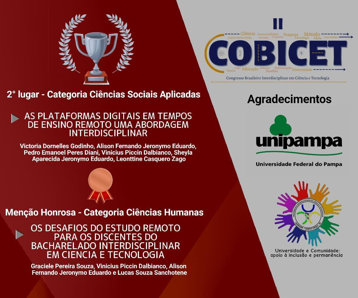 card vermelho e cinza com informações dos prêmios logo do evento da unipampa e do projeto, círculos coloridos em roda