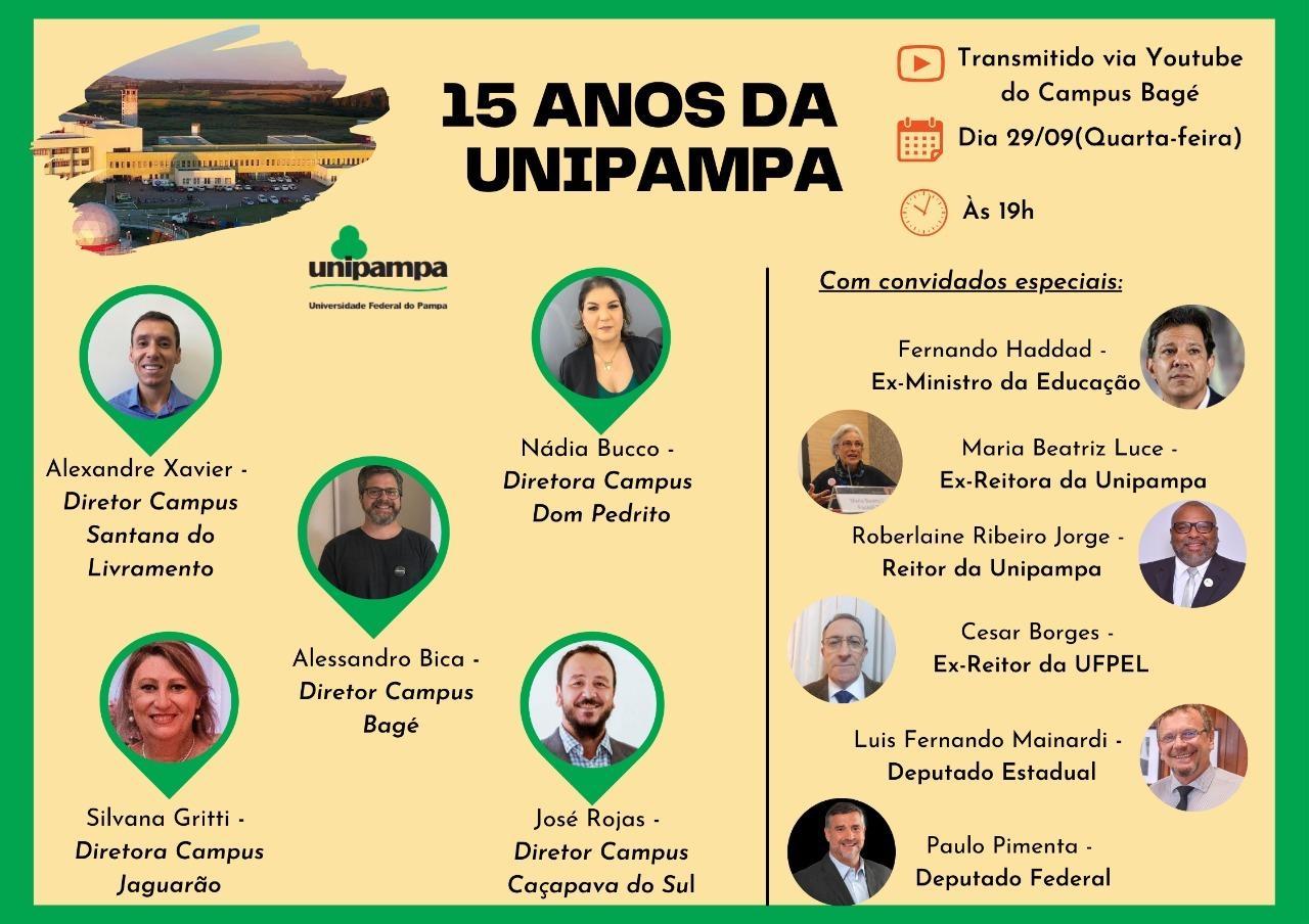 convite com fotos dos participantes diretores e convidados data e horario. no topo foto aérea do campus bagé