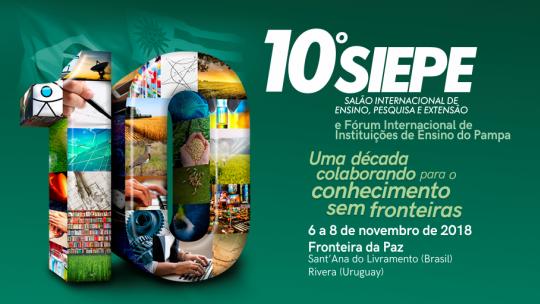 Cartaz do 10º Siepe fundo verde imagens compondo o número 10