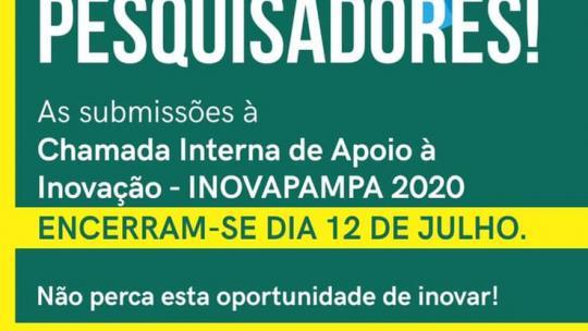 ÚLTIMOS DIAS para inscrição na Chamada Interna nº 06 de Apoio à Inovação - INOVAPAMPA 2020